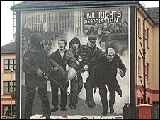 Mural depicting Father Daly on Bloody Sunday