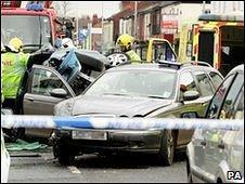Scene of crash involving Sir Ranulph Fiennes
