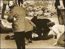 Michael Kelly lies injured on Bloody Sunday