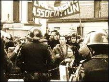 Marchers stopped by army barricade, Bloody Sunday