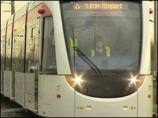 The new Edinburgh trams are being tested in Germany