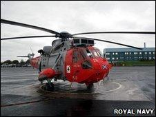 Helicopter at HMS Gannet