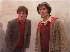 Paul Campbell (left) as Jackie Duddy in the film 'Sunday'