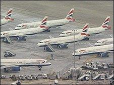 BA planes grounded at Heathrow