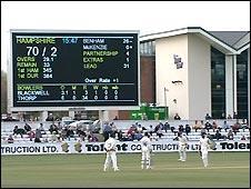 The scoreboard at Durham's Riverside ground