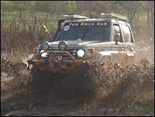 One of the dozens of cars taking part in the race