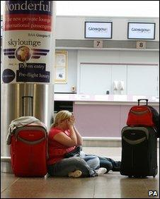 Air passengers at Glasgow Airport, which was closed due to volcanic ash Wednesday May 05, 2010