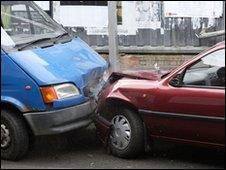 Van and car collide