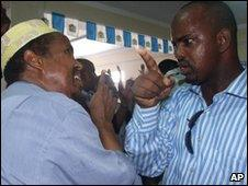 Two Somali MPs row in parliament in Mogadishu on 16 May 2010