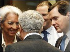 George Osborne and Christine Lagarde at meeting