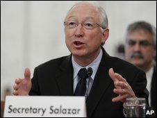 Ken Salazar testifies on Capitol Hill, 18 May