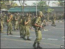 Troops on the streets of Bangkok in May 1992