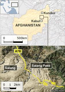 Map of Salang Pass