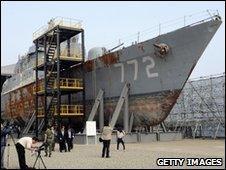 The wreckage of the South Korean warship Cheonan stands in Pyeongtaek naval base, 20 May