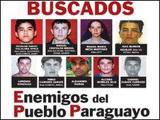 """A poster showing the mugshots of Paraguay's """"most wanted"""""""
