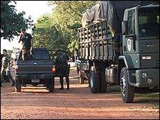 The military on the main roads in northern Paraguay
