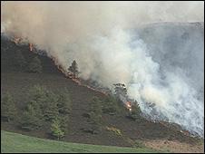 The fire on the Eildon Hills