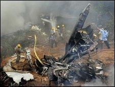 Wreckage of plane after crash