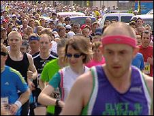 Runners take part in the Edinburgh marathon