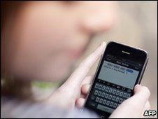 Woman tweeting