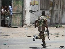 Government soldier in Mogadishu - file pic