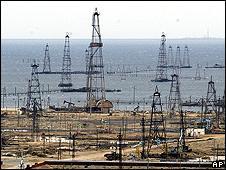 Old oil derricks south of Baku, Azerbaijan