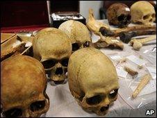 Skulls and bones displayed by police in Thessaloniki, Greece, 24 May 2010