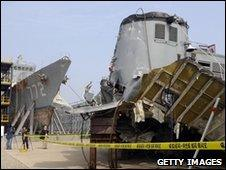 Wreckage of the Cheonan in South Korea on 20 May 2010