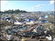 Aftermath at a festival campsite (Copyright: Claire O'Neill)