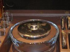 Close up of caviar serving set