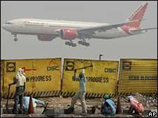 Air India flight landing in Delhi