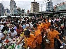 Monks in Lumpini Park, Bangkok, on 26 May 2010