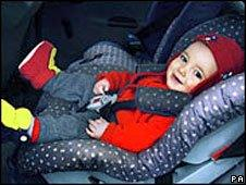 A baby in a car seat (generic)