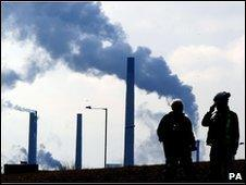 Workers outside Redcar steel plant