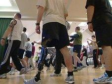 Wounded soldiers excersing