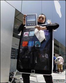 Man in iPad costume, Reuters