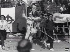 Juventus fans at Heysel Staduim in 1985