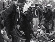 Belguim riot police during the Heysel disaster