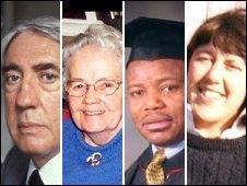 Four of the victims (L-R): Austen Kark, Agnes Quinlivan, Alexander Ogunwusi, Emma Knights
