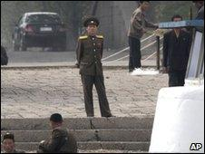North Korean officer on border with China
