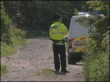 Police officer at the scene in Hindley