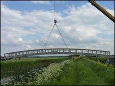 Bridge over Reach Lode on Lodes Way in Cambridgeshire