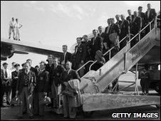 England team arrives back at Heathrow after failure in the World Cup, 10 July 1950
