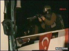 An Israeli commando lands on a Gaza-bound ship (DHA footage)