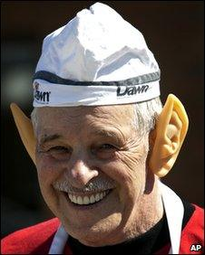 Ed DeJong from Vulcan's bakery dons pointed ears during Leonard Nimoy's visit in April