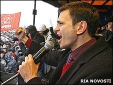 Ilya Yashin at rally in Kaliningrad, 31 Jan 10