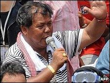 Red-shirt leader Kwanchai Praiphana in Bangkok (28 April 2010)