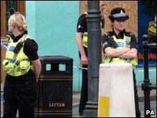 Police officers on Duke Street, Whitehaven, Cumbria