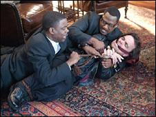 Chris Rock and Martin Lawrence get to grips with Peter Dinklage (centre)