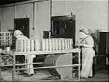 Workers at the weapons factory